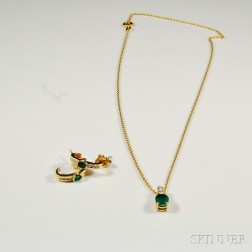 Gold, Diamond, and Emerald Earpendants and Necklace