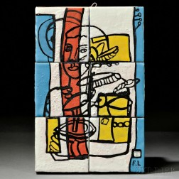 Fernand Leger (French, 1881-1955) Tiled Plaque