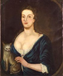Attributed to John Greenwood (Boston, 1727-1792)    Portrait of a Lady in Blue with her Cat.