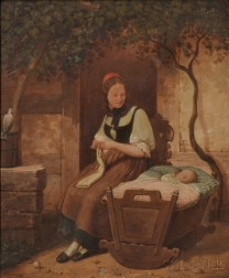 Continental School, 19th Century      Young Mother Knitting Beside a Napping Baby