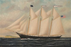 William P. Stubbs (American, 1842-1909)      Portrait of the Three-masted Schooner KATE MARKEE   with Distant Lighthouse.