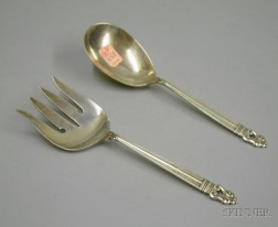International Royal Danish Pattern Sterling Silver Serving Fork and Spoon.