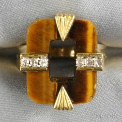 14kt Gold, Tiger's-eye, and Diamond Ring