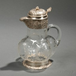 German Silver-mounted Etched Glass Claret Jug