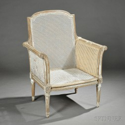 Louis XVI-style Painted Beechwood and Caned Bergere