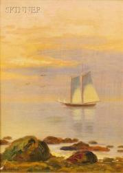 John Clinton Spencer (American, 1861-1919)      Coastal View with Sailing Vessel
