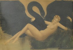 After Louis Icart (French, 1888-1950)      Leda and the Swan