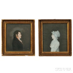 Anglo/American School, Early 19th Century    Pair of Small Profile Portraits of a Gentleman and Lady