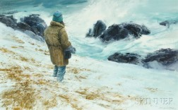 Don Stone (American, 1929-2015)      Figure at the Water's Edge, Winter