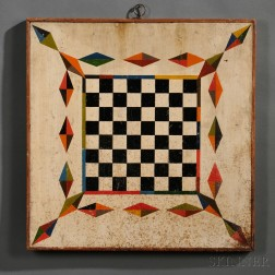 Paint-decorated Checkers/Parcheesi Game Board