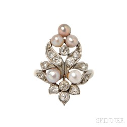 Edwardian Pearl and Diamond Ring, Marcus & Co.