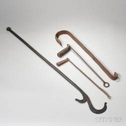 Two Large Wrought Iron Hearth Hooks and Two Wrought Iron Weights