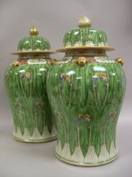 Pair of Chinese Export Cabbage and Butterfly Porcelain Covered Jars