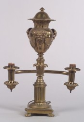 Charles X Style Brass Two-Light Argand Lamp