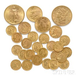 Collection of Twenty-eight United States Gold Coins