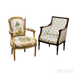Louis XVI-style Fauteuil and Bergere