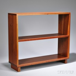 Charles Webb Cherry Bookcase, late 20th century, with two shelves, on two feet, ht. 29, wd. 33, dp. 10 in.