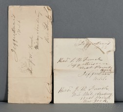 Davis, Jefferson (1808-1889) Three Envelopes with Free Frank Signatures.
