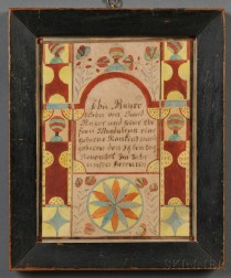 Framed Fraktur Birth Certificate
