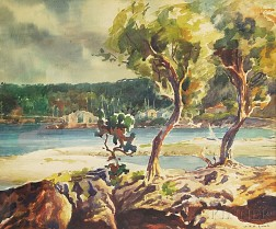 Geraldine de M. Goutiere Acomb (American, 1907-2000)      Trees Along the Shoreline