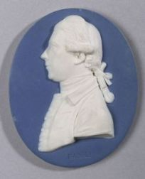 Wedgwood and Bentley Solid Blue Jasper Oval Portrait Medallion of Sir Joseph Banks