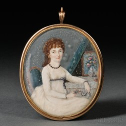 American/Continental School, c. 1810 Portrait Miniature of a Young Woman Seated Before Her Dressing Table Holding a Portrait Miniature.