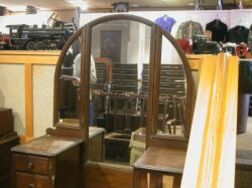 Art Deco Style Mahogany Veneer Mirrored Dressing Table .