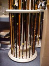 Custom Crafted White Painted Revolving Cane Stand