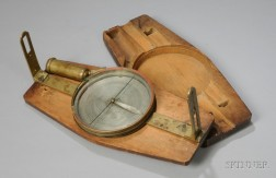 Brass American Plain Surveyor's Compass and a Scale Protractor Rule by Dodd