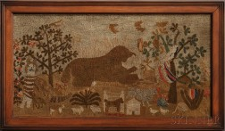 Fanciful Pictorial Needlework Picture of Animals, Trees, and Flowers