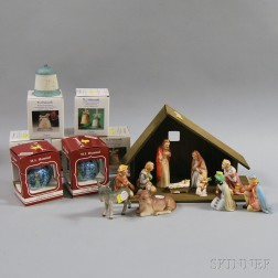 Hummel Christmas Manger and Eight Boxed Ornaments