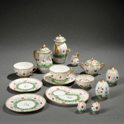 Limoges Hand-painted Porcelain Partial Breakfast Service