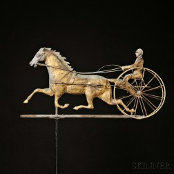 Molded Gilt Copper and Cast Zinc Horse and Sulky Weathervane
