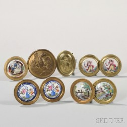 Three Pairs and Three Individual Polychrome Battersea Enamel and Brass Mirror Supports or Curtain Tiebacks