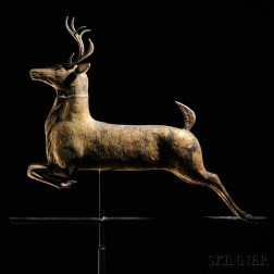 Molded Gilt Copper Leaping Stag Weathervane