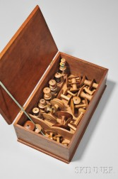 Shaker Dark Brown-stained Rectangular Sewing Box with Thirty-four Spools