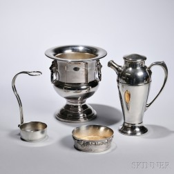 Four Wine and Cocktail-related Silver-plate Objects, including a Wallace Baroque pattern wine coaster, Italian wine bottle stand, Int