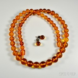 Amber Bead Necklace and Earrings