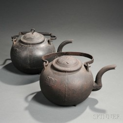 Two Cast Iron Hearth Kettles