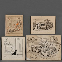 Cartoon Art, Twenty-eight Signed Drawings, c. 1940.