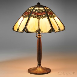 Metal Overlay Table Lamp Attributed to Handel