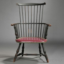 Painted Windsor Fan-back Upholstered Armchair
