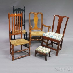 Four Chairs and a Classical Mahogany Footstool