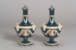 Pair of Wedgwood Victoriaware Barber Bottles and Covers