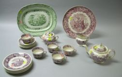 Twenty-piece Adams Violet Transfer Cattle Scenery Pattern Tea Set, a Wedgwood Magenta Ferrara Pattern Tray, and an English Green Transf