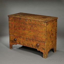 Diminutive Putty-painted Pine Chest over Drawer