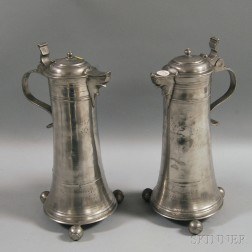 Near Pair of Pewter Flagons