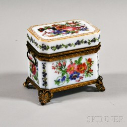 Opaline and Brass Cologne Box