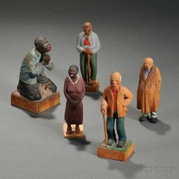 Five Carved and Painted Figures