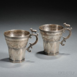 Two Spanish Colonial Andean Silver Cups